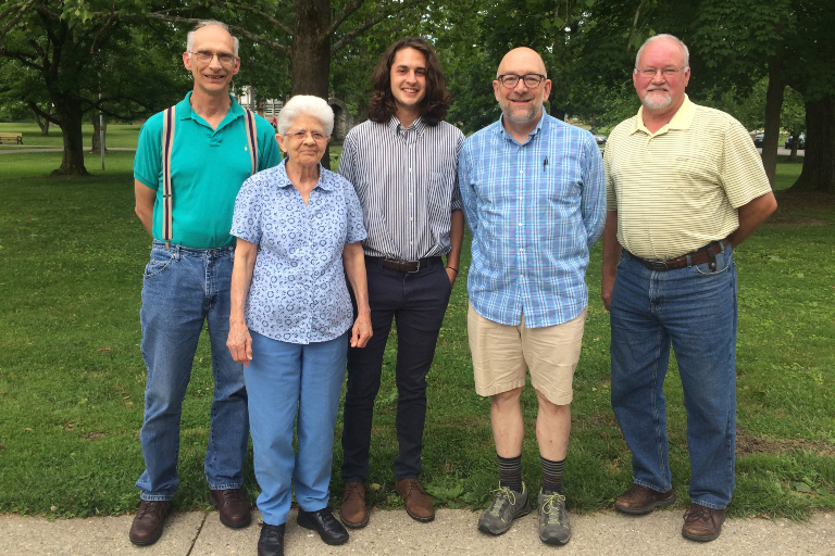 The volunteers who completed Oldenburg, Indiana's greenhouse gas inventory; from left: Volunteers Steve Kristoff, Claire Whalen, Zack Blomer, and Michael Cambron, along with Town Manager Dennis Moeller