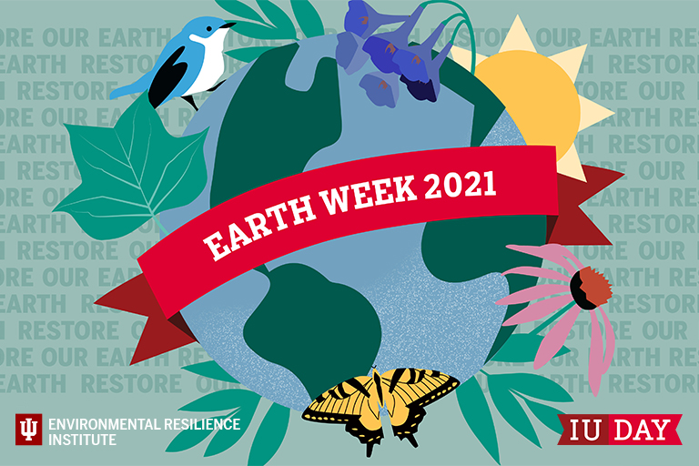 The text Earth Week 2021 over the Earth with native flora and fauna surrounding it