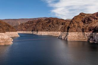 Due to prolonged drought in the Western part of the U.S., Lake Mead has experienced historic lows. Lake Mead provides water to Arizona, California, and Nevada.