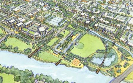 a rendered map of the Iowa City riverfront
