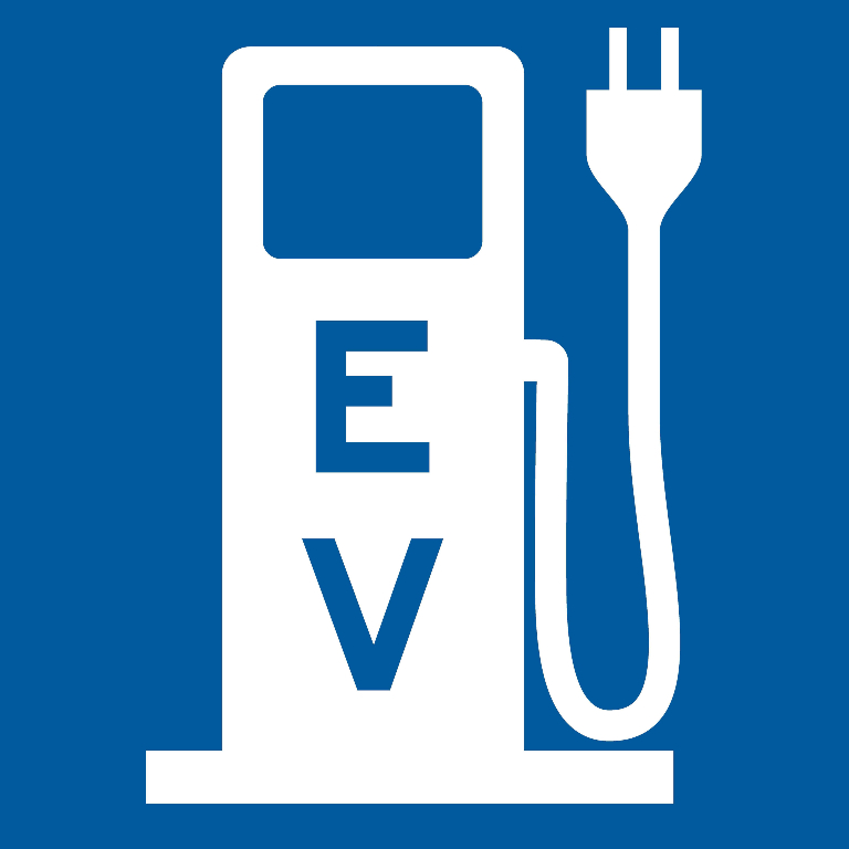 Federal Highway Administration signage for EV charging stations.