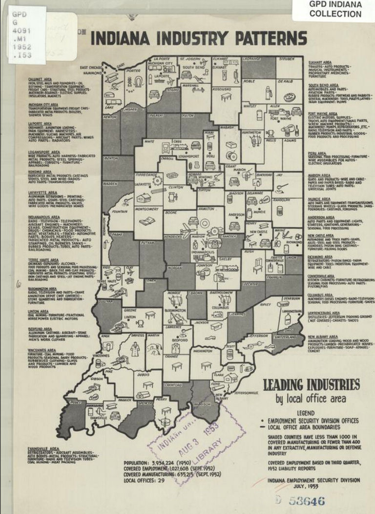 A map of Indiana showing leading industries in the mid-1900s