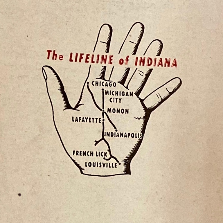 A hand with the cities on the train route